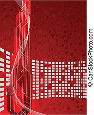 wektor, futurystyczny, tło, czerwony