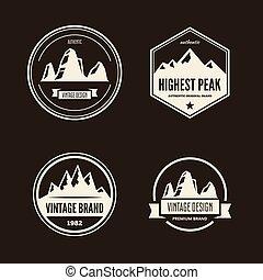 wektor, góra, komplet, obozowanie, hiking, przygody, labels., na wolnym powietrzu, turystyka, logo.