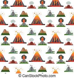 wektor, góra, wulkaniczny, kasownik, dym, natura, próbka,...