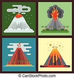 wektor, góra, wulkaniczny, kasownik, illustration., natura,...