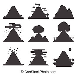 wektor, góra, wulkaniczny, sylwetka, illustration., natura,...
