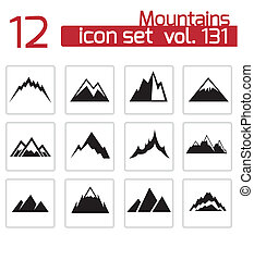 wektor, góry, komplet, czarnoskóry, ikony