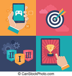 wektor, gamification, pojęcia, -, płaski, app, ikony