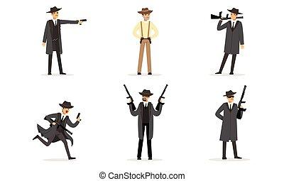 wektor, gangsters., mężczyźni, petycje, illustration.