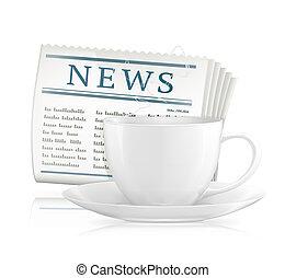 wektor, gazeta, filiżanka, kawa