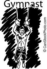 wektor, gimnastyka, rings., sport, ilustracja