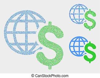 wektor, globalny, kropka, handlowe ikony