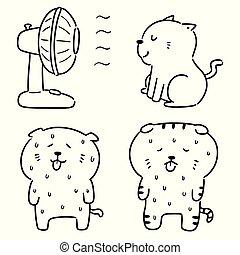 wektor, gorący wystawiany, pogoda, kot