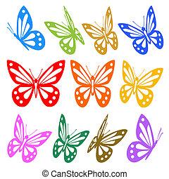 wektor, graficzny, barwny, -, sylwetka, motyle, komplet