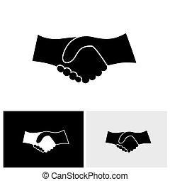 wektor, graficzny, handlowy, &, -, ręka, pojęcie, czarnoskóry, potrząsanie, biały, ikona