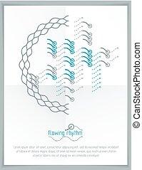 wektor, graficzny, poster., illustration., kwestia, abstrakcyjny, pattern., falisty, reklama, techniczny, szablon