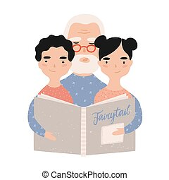 wektor, grandchildren., jego, wnuk, płaski, granddad, dziadek, starszy, rysunek, bajki, granddaughter., książka, portret ilustracji, mówienie, grandparent, czytanie, style., grandkids.