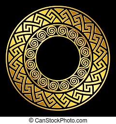 wektor, grek, ozdoba, meandry, złoty