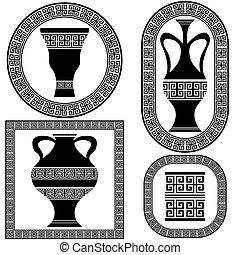 wektor, grek, układa, komplet
