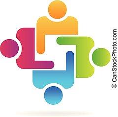 wektor, grupa, innovating, ludzie