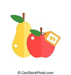 wektor, gruszowe jabłko, czerwony, illustration.