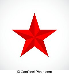 wektor, gwiazda, czerwony
