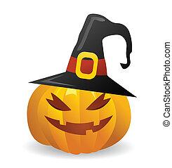 wektor, halloween, dynia