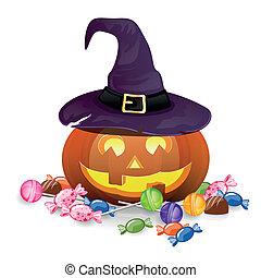 wektor, halloween, dynia, z, kandyz