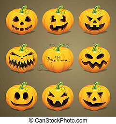 wektor, halloween, dynie