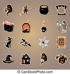 wektor, halloween, ikona