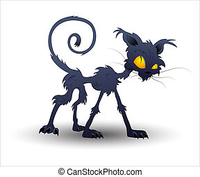 wektor, halloween, kot