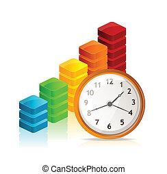 wektor, handlowy, wykres, i, zegar