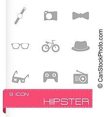 wektor, hipster, ikony, komplet