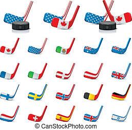 wektor, hokej, lód, sticks/country2
