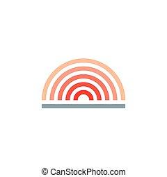 wektor, horyzont, prosty, słońce, nachylenie, logo