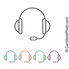 wektor, icon., 10, eps, poparcie, headset.
