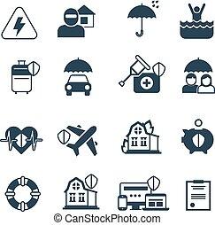 wektor, icons., symbolika, ochroniarskie bezpieczeństwo, ubezpieczenie
