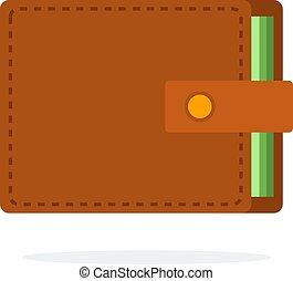 wektor, ikona, płaski, odizolowany, portfel, skóra, brązowy