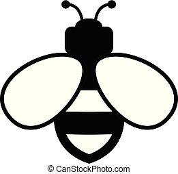 wektor, ikona, pszczoła