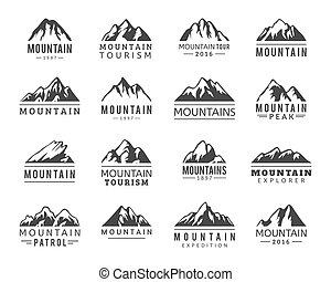 wektor, ikony, komplet, góra