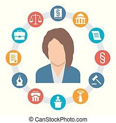 wektor, ikony pojęcia, kobieta, prawo, prawnik