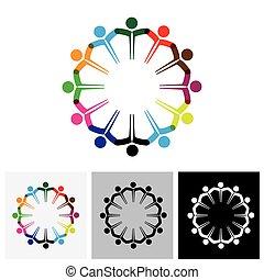 wektor, ikony pojęcia, ludzie, -, razem, dzieciaki, siła robocza, logo, albo, ikona