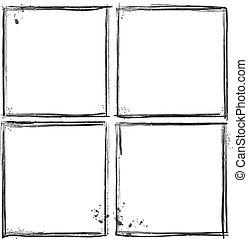 wektor, illust, komplet, grunge, frames.