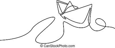wektor, illustration., ciągły, jeden, ship., papier, kreskówka
