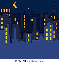 wektor, illustration., cityscape.
