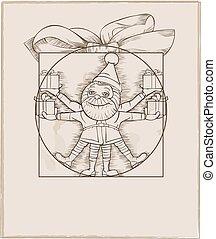 wektor, illustration., elf, boże narodzenie daruje, transport, rysunek