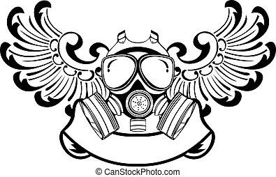 wektor, illustration., kolor, gaz, jeden, mask., skrzydełka