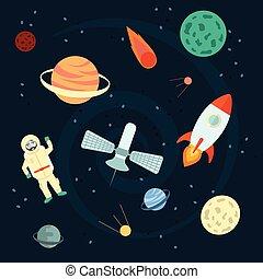 wektor, illustration:, komplet, ufo, illustration., przestrzeń, orbity, satelita, meteorite., icons., rysunek, astronauta, gwiazdy, kometa, planety, apollo, cosmos., rakiety, pień