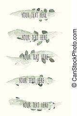 wektor, illustration., liście, odizolowany, uderzenie, tło, zielony, szczotka, biały