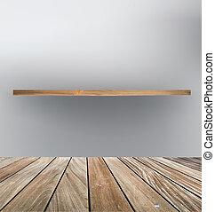 wektor, illustration., półka, floor., drewno, opróżniać