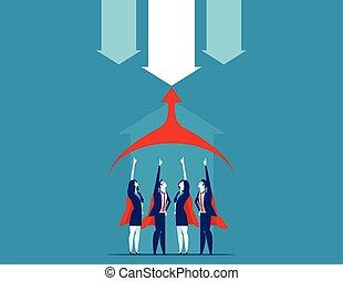 wektor, illustration., team., superbusiness, pojęcie, handlowy