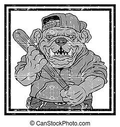 wektor, ilustracja, buldog, okrutny, piłka, baseball, -, gracz, uderzenia