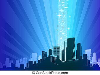 wektor, ilustracja, -, cityscape, &, magia, fenomen