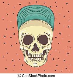 wektor, ilustracja, czaszka