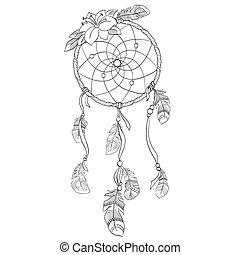 wektor, ilustracja, dreamcatcher